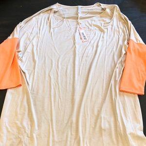 Pinkblush Maternity Cream & Neon Orange Sleeve Top